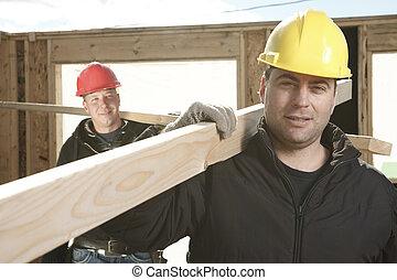 utanför, konstruktion, arbete, män