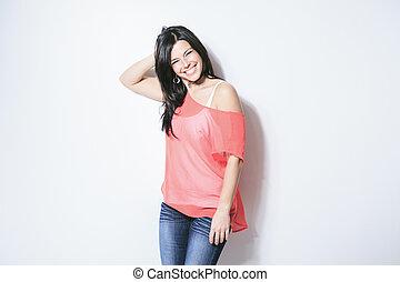 mulher, cinzento, cabelo, pretas, fundo, sorrindo