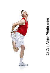 Funny clumsy sportsman - Funny weak sportsman exercising...