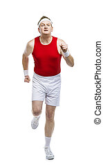 Funny clumsy sportsman - Funny weak sportsman exercising....
