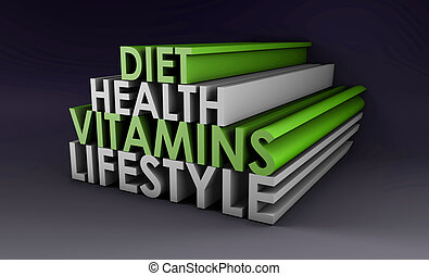Healthy Lifestyle with Diet and Vitamins in 3d