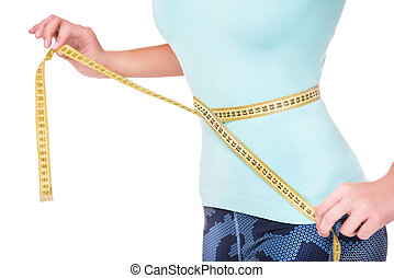 Close up of fit woman measuring her waist