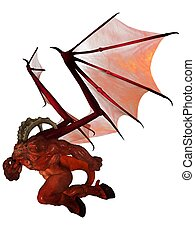 3D rendered demon - 3D rendered fantasy demon isolated on...