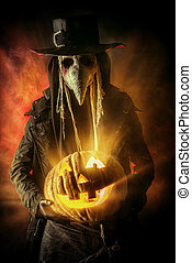 lack death - Frightening plague doctor stands with a...