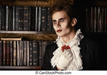 mystery night - Handsome vampire nobleman studying ancient...