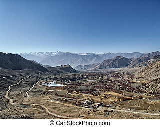 view of the valley in the Himalayas