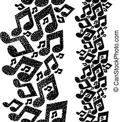 Music theme seamless pattern with n