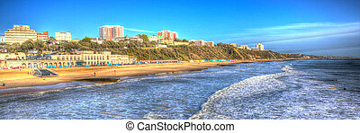 Bournemouth beach panorama UK - Bournemouth beach and coast...