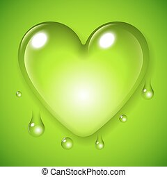 Green Waterdrop Heart - Big waterdrop in a shape of love...
