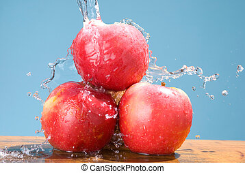 group of apple with cool splash