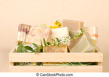 group of handmade soap in wooden box, nature material