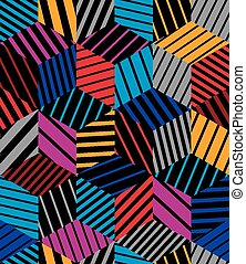 Lined 3d cubes seamless pattern, geometric vector background...