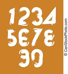 Vector stylish brush digits, handwritten numerals, white...