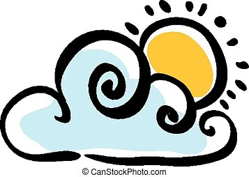 Cloudy weather icon on white background, vector illustration...