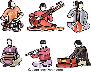vector set of indian musician playing traditional musical...