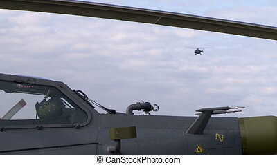 View of helicopter flying in sky - View of military...
