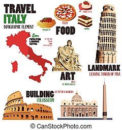 Infographic elements for traveling to Italy - A vector...