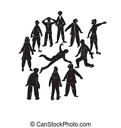 Dead Man - Illustration of a crowd and a dead or injured man...