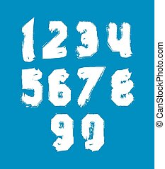 White hand painted daub numerals, collection of acrylic...