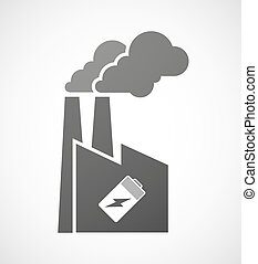 Industrial factory icon with a battery