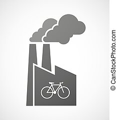 Industrial factory icon with a bicycle