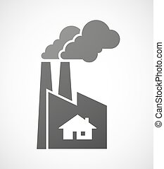 Industrial factory icon with a house