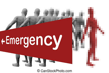 Standing Out From The Crowd with text emergensy made in 3d...