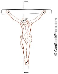 Jesus Crucifix Outline White