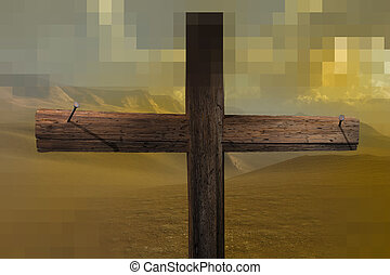 The cross end two nails made in 3d software
