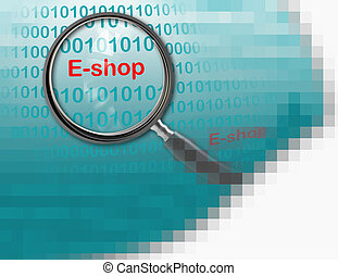 E-shop - Close up of magnifying glass on E-shop made in 2d...