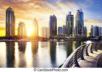 Cityscape of Dubai at night, United Arab Emirates - skyline...