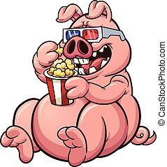 Fat pig - Fat cartoon pig eating popcorn and wearing 3D...