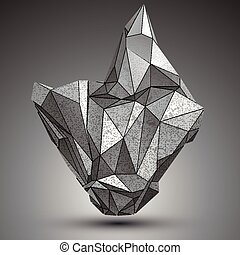 Deformed apex tech zinc object, 3d complex cybernetic...