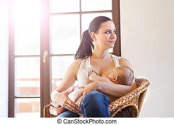 Mother breastfeeding her baby - Mother breastfeeding her...