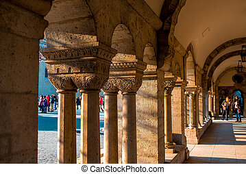Fishermans Bastion columns - Arches and columns at...