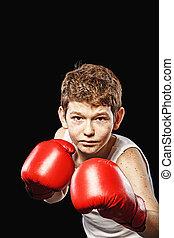 popa, mirada, Boxeador,