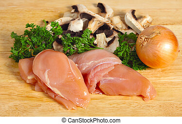 Chicken and mushroom ingredients - Ingredients for a chicken...
