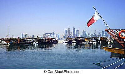 Doha dhows and skyline