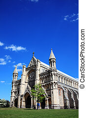 St Albans Cathedral in St Albans, Hertfordshire, England...