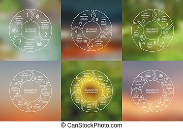 Circle arrows infographics set Line infographic, diagram,...