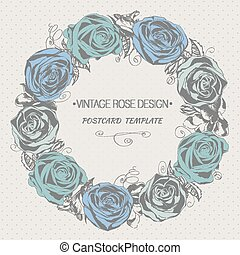 Floral wreath with roses. Vintage style