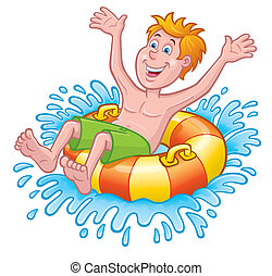 Boy On Inner Tube Splashing - Cartoon illustration of a boy...