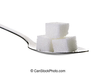 cube sugars in teaspoon isolated on white background