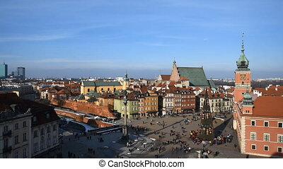 Castle Square in Warsaw - Castle Square with king's...
