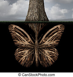Creative Roots - Creative roots concept as a tree with a...