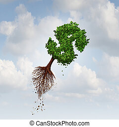 Money Flight business concept as a flying tree with