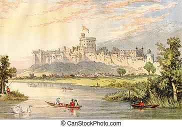 Windsor Castle - An engraved illustration image of Windsor...