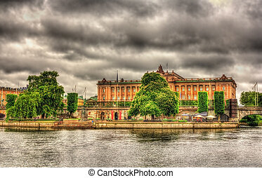 View of the Parliament House in Stockholm, Sweden