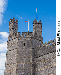 Caernarfon Castle, North Wales - View on the polygonal Eagle...