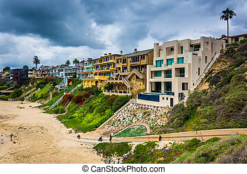 View of houses on cliffs above the Pacific Ocean from...